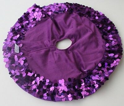 DAZZLING PURPLE SEQUIN MINI TREE SKIRT Christmas Table Top Decoration Kitsch NEW