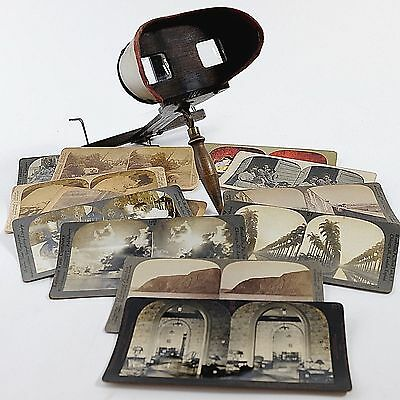 Antique Stereoscope w/13 Stereoviews Animals, Perspective Scenes