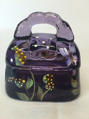 Fenton Art Glass Hand Painted Purple Purse LIMITED