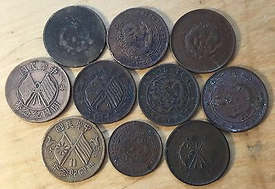 Lot Of Ten Vintage Chinese Cash Coins, Dragons And Flags, Circulated (Lot 76)
