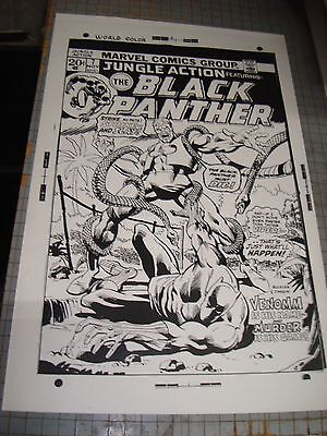 Black Panther N# 7 Marvel Amazing Noir Cover Art Production Transparency