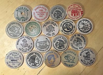 Lot Of 18 Wooden Nickels (Lot 11)