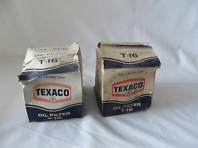 2 Vintage Texaco T-16 Oil Filters / New in Box / has some shelf wear