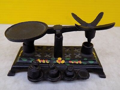 Vintage Mini Cast Iron Scale & Weights Counter Balance Flower Motif