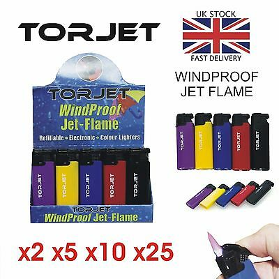 5x Tor Jet Lighter Windproof Torch Flame Refillable Electronic Safety Torjet