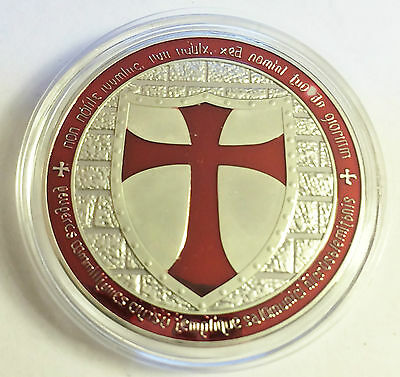 """1 OZ 2014 """"RED"""" TEMPLAR KNIGHT CROSS COIN Finished in 999 Fine Silver"""