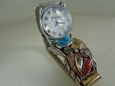 12K Gold Filled Watch Tips With Turquoise & Red Coral Stones By Navajo