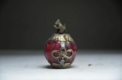 Collectible Chinese Silver Dragon Inlaid Jade Handmade Carved Mice Statue