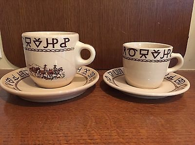 Vtg Lot Wallace China Westward Ho Rodeo Brands Lasso Lariat Coffee Cups Saucers