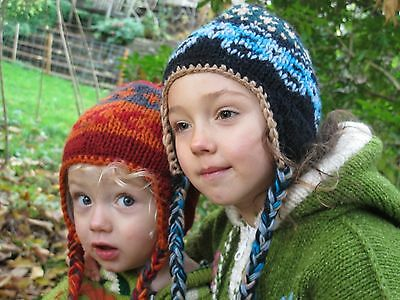Childrens Winter Thermal Woolly Wool Hat Fleece Lined Boys/Girls Earflaps Kids