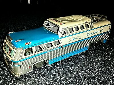"""1950""""s Tin Friction Sound Effects Lithographed Greyhound Bus Toy HTC Japan. Fric"""