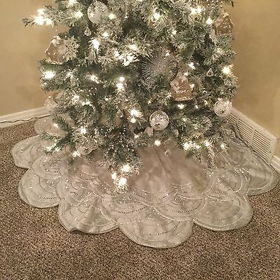 "NWT 60"" BALSAM HILL Beaded Scallop Silver Tree Skirt - Christmas Tree"
