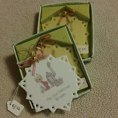 3 1990 Precious Moments Porcelain Snowflake Ornaments May Your Christmas Be Warm