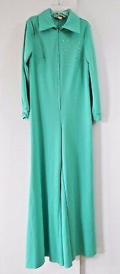 vintage 70s womens green JUMPSUIT JUMPER rhinestones polyester disco funky M