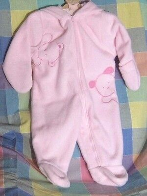 Carter's Baby Girl 6-9 Months Bunting Winter Snow Suit  Pink w/ Embroidery