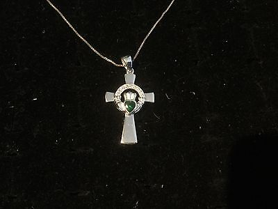 "Rare Emerald Diamond Sterling Silver Irish Claddagh Cross on 18"" Sterling Chain"