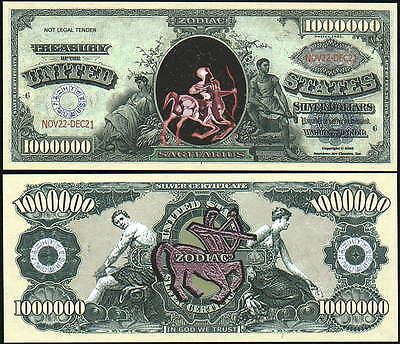 Sagitarius Million Dollar Bill **Novelty Money** FREE Sleeve