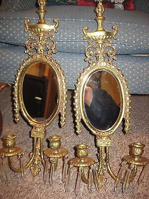 Vintage Brass Neoclassical Candle Wall Hanging Mirror  Sconces Crystal Dangle 2'