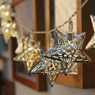 20 LED Metal Star Battery Powered String Fairy Lights Christmas Party Xmas Decor