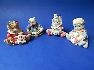 Holiday Christmas Calico Kittens figurines Set of 4