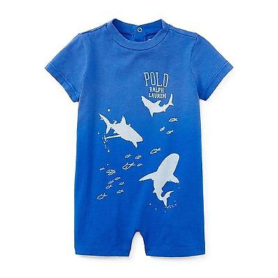 New Ralph Lauren Toddlers Surf Polo Graphic Tee Bright Royal Blue '24M' Msrp29.5