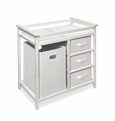 Badger Basket Modern Changing Table with 3 Baskets and Hamper, White