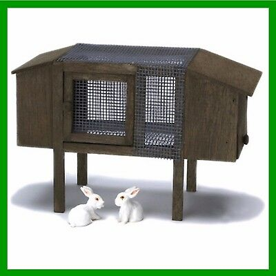 Fairy Garden Miniature Rabbit Hutch and 2 Bunnies Dollhouse Accessories