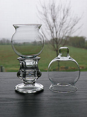 2 Small Globe Flared Edge Clear Glass Votive Candle Holders /Cups Peglite