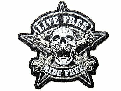 LIVE FREE RIDE FREE Biker Rider Skull Iron On Embroidered Shirt Hat Badge Patch