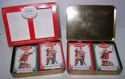 1994 Coca Cola Santa Claus Tin one w/ 2 Sealed Decks of Playing Cards + One More