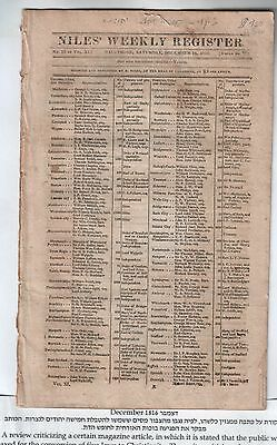 NIles Weekly Register original issue for Dec14th 1816, published in Baltimore