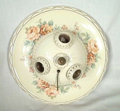 MID CENTURY 1950's HAND PAINTED FLORAL GLAZED CERAMIC 3 SOCKET CEILING LIGHT