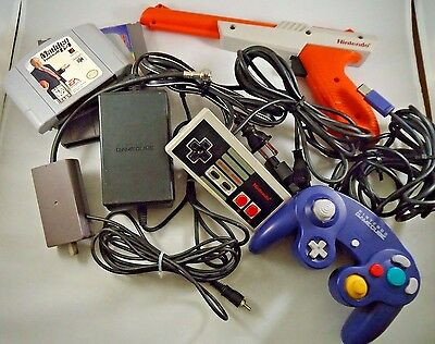 Nintendo OEM Mix Lot Zapper Gun, Gamecube Power Cord, Controllers, RF, UNTESTED