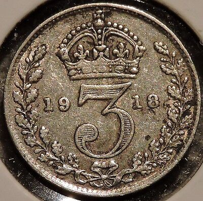 British Silver Threepence - 1918 - King George V - $1 Unlimited Ship