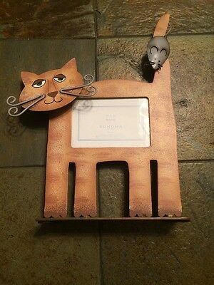 """Photo Frame Cat & Mouse 3D Metal Standing Holds 2.5"""" x 3.5"""" Photo by Sonoma"""