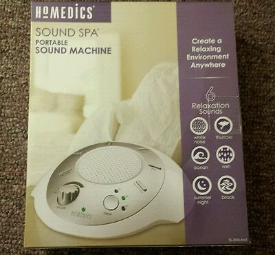 HoMedics SS-2000G-AMZ Sound Spa Portable with 6 Nature Sounds Silver/White