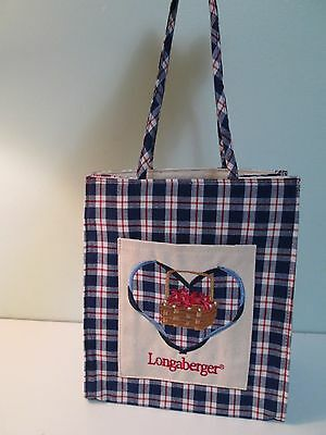 Longaberger Picnic plaid purse, tote or gift bag; embroidered pocket