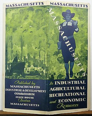 1932 Massachusetts vintage road map state resource guide brochure b