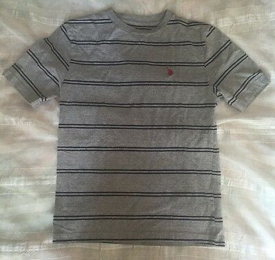 Boys Size 18 Gray And Blue Striped T-shirt By US Polo Assn