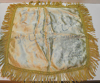 Vintage WWII US Marine Corps Silk Sweetheart Pillow Case Cover VERY HARD TO FIND