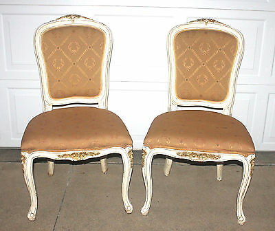 PAIR Victorian Vintage CHAIRS Gold Gilt Honey Tapestry Antique White Wood