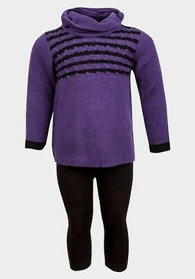 Girls' Purple Turtle Neck Sweater and Leggings Set