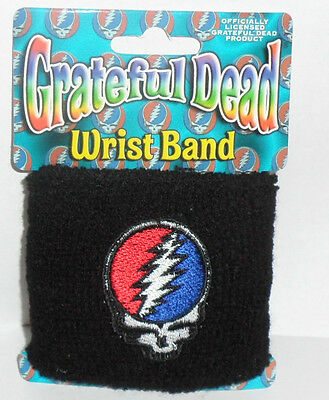 GRATEFUL DEAD Steal Your Face Black Terrycloth WristBand NEW