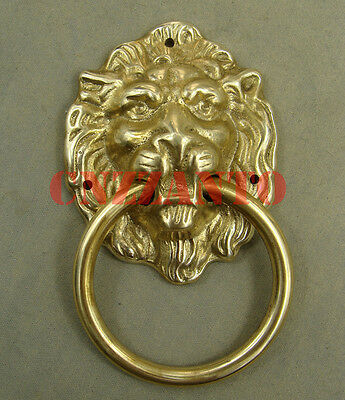 """Lions head"" Solid brass door knocker handle ring with brass nails Z155"