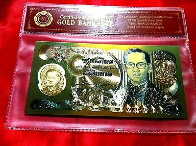Thailand Gold Banknote 50 Thai Baht Colour Gold Coloured Banknote  Note