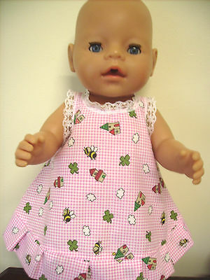 """Dolls Clothes 17"""" Baby Born & CPkid Pink & White Check Dress, Bees, Houses."""