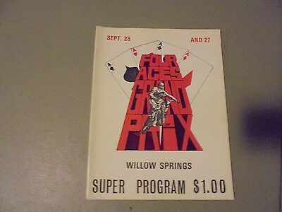 1970s?? FOUR ACES GRAND PRIX MOTORCYCLE RACING PROGRAM,WILLOW SPRINGS,CA.OLD SCH