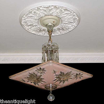 192 Vintage 40s  50s Ceiling Light Lamp Fixture Chandelier Re-Wired  AZALEA pink