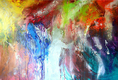 Original Abstract Painting-Australian Artist-Large-Yellow-Red-Green-Blue-Canvas