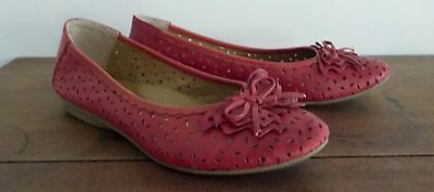 Size 8....PLANET SHOES....Red Leather Flats